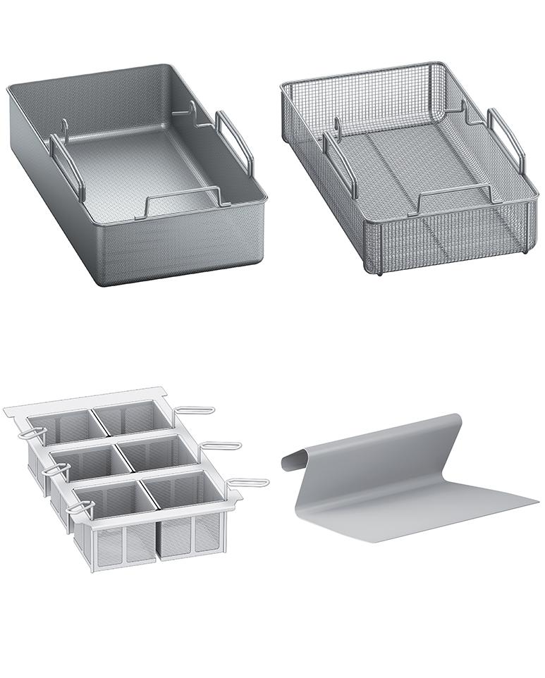 Large gamme d'accessoires (panier à portions, table de soubassement, chariot porte-paniers, pelle…)